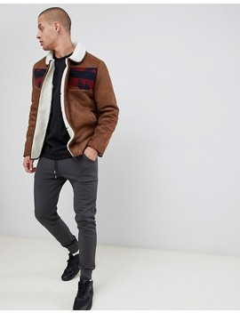 Asos Design Faux Shearling Jacket With Aztec In Tan by Asos Design