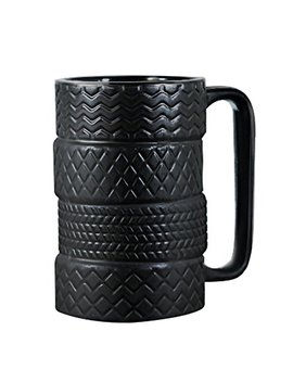 Ep Family 3 D Cool Car Mug Large Tyre Tire Interior Durable Coffee Tea Cup Attractive Mugs Personalized Porcelain Gifts For Men Women Car Lover 14.5 Oz Black by Ep Family
