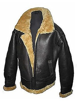 Men's Aviator Ginger Brown B3 Real Shearling Sheepskin Leather Bomber Flying Pilot Jacket by Infinity