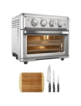 Cuisinart Convection Toaster Oven Air Fryer With Light Silver (Toa 60) With Cuisinart Triple Rivet Collection 3 Piece Knife Set & Home Basics  Two Tone Bamboo Cutting Board by Cuisinart