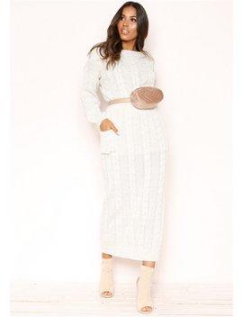 Noara Cream Knit Midi Co Ord Set by Missy Empire