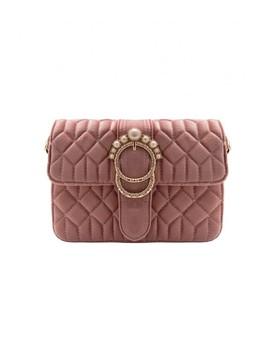 Alison Pink Velvet Pearl Buckle Shoulder Bag by Missy Empire