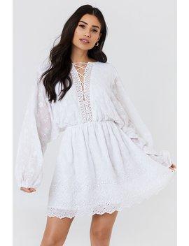 Lace Up Lace Dress White by Na Kd