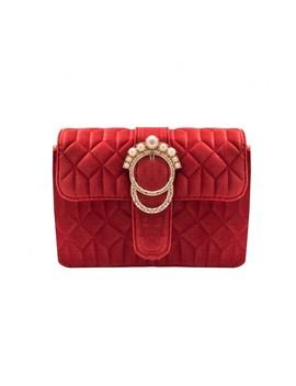 Alison Red Velvet Pearl Buckle Shoulder Bag by Missy Empire