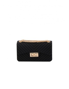 Amy Black Gold Quilted Mini Bag by Missy Empire