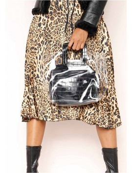 Maisie Black Perspex Faux Leather Square Bag by Missy Empire