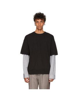 Black Knit Poplin T Shirt by Juun.J