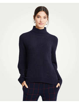 Mock Neck Boucle Sweater by Ann Taylor