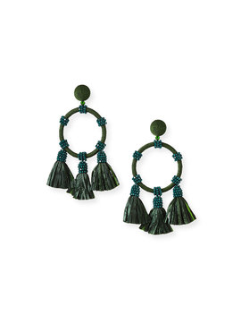 Raffia Tassel Hoop Earrings by Oscar De La Renta
