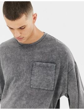 Asos Design Oversized Longline Long Sleeve T Shirt With Pocket In Extreme Acid Wash In Grey by Asos Design