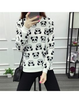 2017 Fashion Harajuku Cute Teddy Bear Panda Women Sweater High Quality Long Sleeves Flannel Pullovers Warm Tops Large Size M Xxl by Ali Express