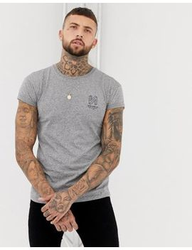 Bershka Muscle Fit T Shirt In Grey With Chest Print by Bershka