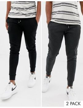 Asos Design Skinny Joggers In Black / Charcoal 2 Pack by Asos Design
