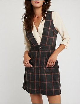 Windowpane Pinafore Dress by Charlotte Russe