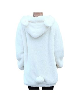 Girls Solid Color Winter Women Hoodies Zipper Loose Fluffy Bear Ear Hoodie Hooded Jacket Warm Outerwear Coat S4 by Liva Girl