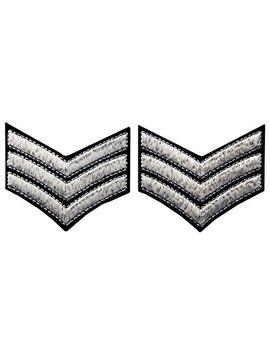 Millitary Uniform Chevrons Sergeant Stripes Army Embroidered Arms Emblem Iron On Sew On Shoulder Patch, Silver, 2 Pcs by Zegin