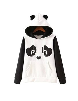 New Fashion High Quality Women's  Winter Warm Panda Fleece Pullover Jumper Hooded Sweater Coat Tops F05 by Klv