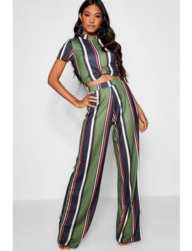 Twist Front Stripe Top + Trouser Co Ord by Boohoo