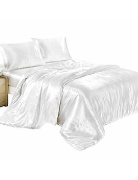 4 Pcs Satin Silk Duvet Cover Sets Fitted Sheet Pillow Cases Bedroom Quilt Cover Bedding Sets King Double Single (White, Double) by Flowers Sea