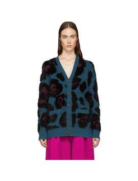 Blue V Neck Cardigan by Marc Jacobs