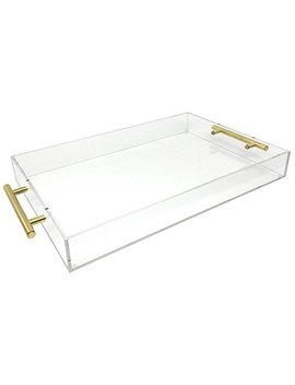 Isaac Jacobs Acrylic Tray (11x14, Clear With Gold Handle) by Isaac Jacobs International