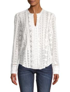 Embroidered Silk Blend Chiffon Top by Rebecca Taylor