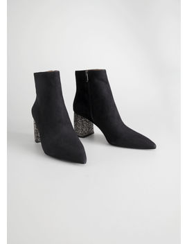 Rhinestone Heel Suede Ankle Boots by & Other Stories