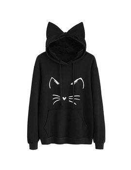 Womens Cat Ear Solid Long Sleeve Hoodie Sweatshirt Hooded Pullover Tops Blouse Solid Color Cat Print Ear Hooded Sweatershirt by Feitong