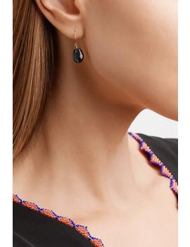 Cauri N°2 9 Karat Rose Gold, Onyx And Diamond Earring by Pascale Monvoisin