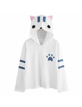 Women Cat Ear Cute Pirnt Hoodie Women Sweatshirt 2018 Fashion Pullover Tops Casual Hoodies Women Sweatshirt #10 by Ali Express