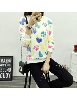 New Brand Yan Mu Xi 2017 Winter Fashion Kitten Strawberries Printing Hoodies Woman Sweatshirts Long Sleeve Leisure Lady Tops by Yanmuxi
