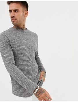 Asos Longline Long Sleeve T Shirt In Twisted Interest Rib With Curved Hem by Asos Design