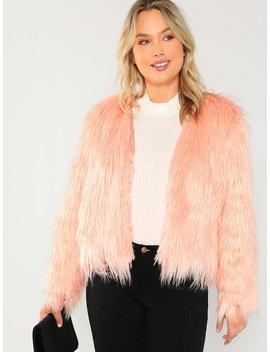 Plus Open Front Faux Fur Teddy Coat by Shein
