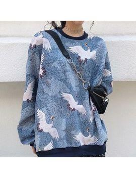 Essere   Crane Print Sweatshirt / Asymmetric Hem Midi Plaid Skirt by Essere