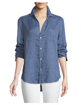 Eileen Button Down Linen Chambray Shirt by Neiman Marcus