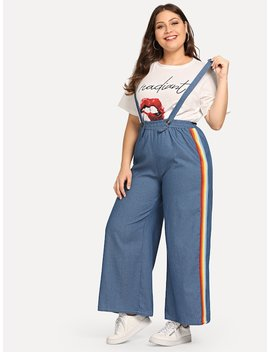 Plus Rainbow Taped Striped Side Pant by Sheinside