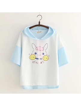 Summer 2018 Women Harajuku Kawaii  Patchwork Color T Shirts Short Sleeve  Hooded Rabbit Printed Cotton Ladies Tops Bunny Shirt by Ainoway