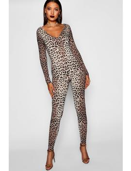 Tall Halloween Leopard Print Catsuit by Boohoo