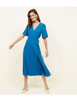 Teal Wrap Front Midi Dress by New Look