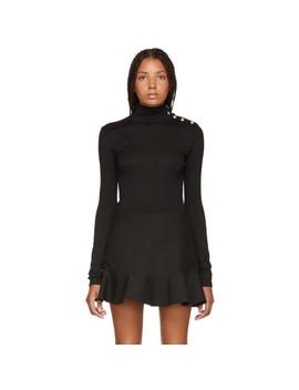 Black Buttoned Wool Turtleneck by Balmain