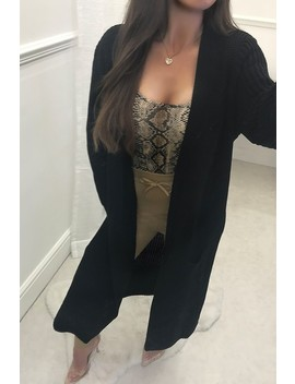 Lisa Black Longline Knitted Cardigan by Misspap