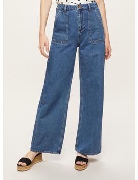 Wide Leg Blue Denim Jeans by Miss Selfridge