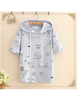 Lovely Cartoon Print T Shirt Women Short Sleeve Cotton Hooded 4colors 2018 Summer New Arrivals by Wsryxxsc