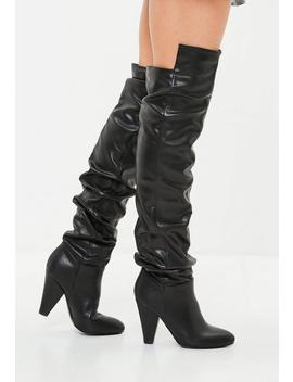 Black Faux Leather Ruched Over The Knee Boots by Missguided