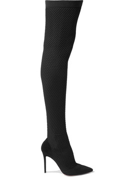 105 Suede And Honeycomb Knit Over The Knee Sock Boots by Gianvito Rossi