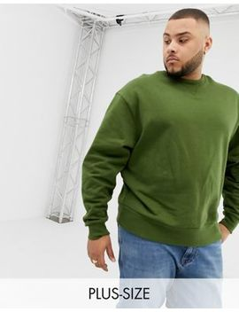 Collusion Plus Regular Fit Sweatshirt In Khaki by Collusion