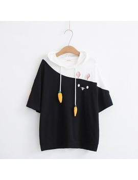 Mori Girl 2018 Summer Bunny Mixed Colors Cute Hood T Shirt Tee Top 35108 by Lizhiqi
