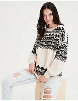 Ae Pattern Balloon Sleeve Pullover Sweater by American Eagle Outfitters