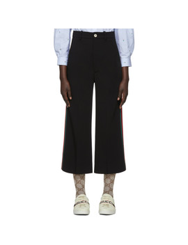 Black Web Cropped Flared Trousers by Gucci