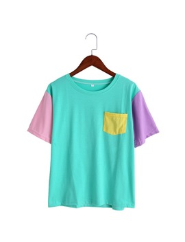 2017 Summer Style Fashion Women Harajuku Patchwork T Shirts Kawaii Casual Cotton Spell Color Patchwork De Mujer by Klv